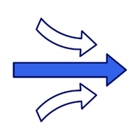 Icon of channels combining into one endpoint