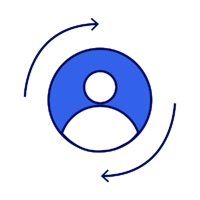 Icon of person with arrows rotating around it