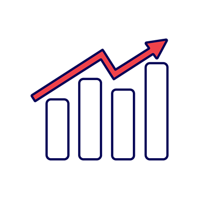 Graph of data trending up icon
