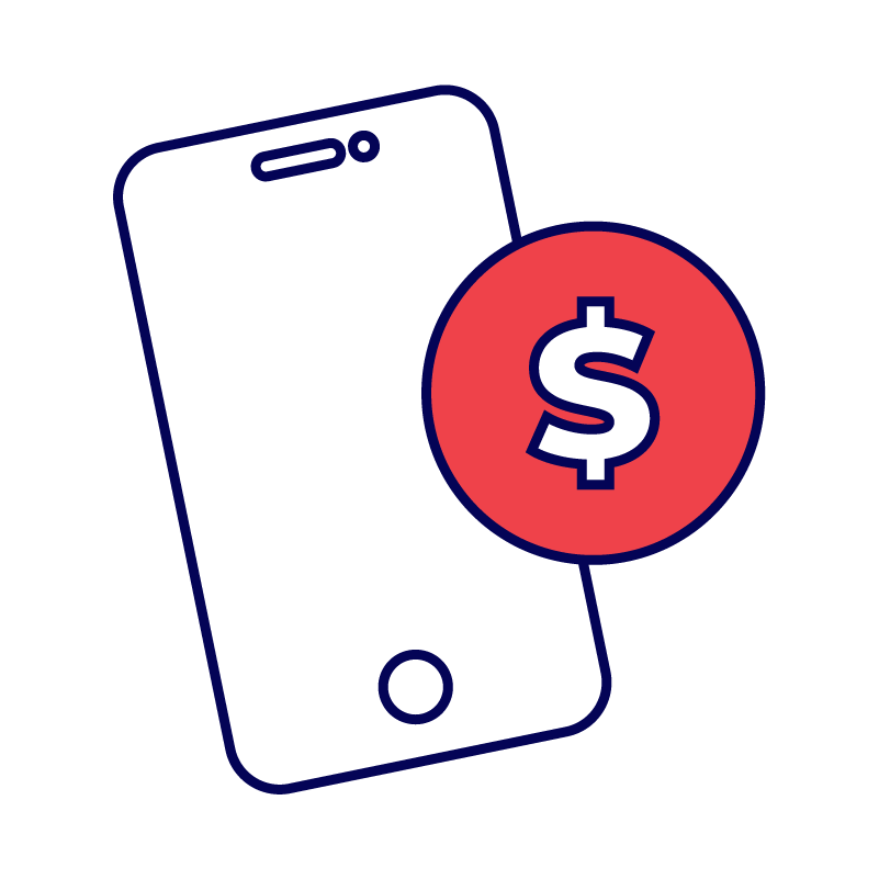 Phone with money symbol icon